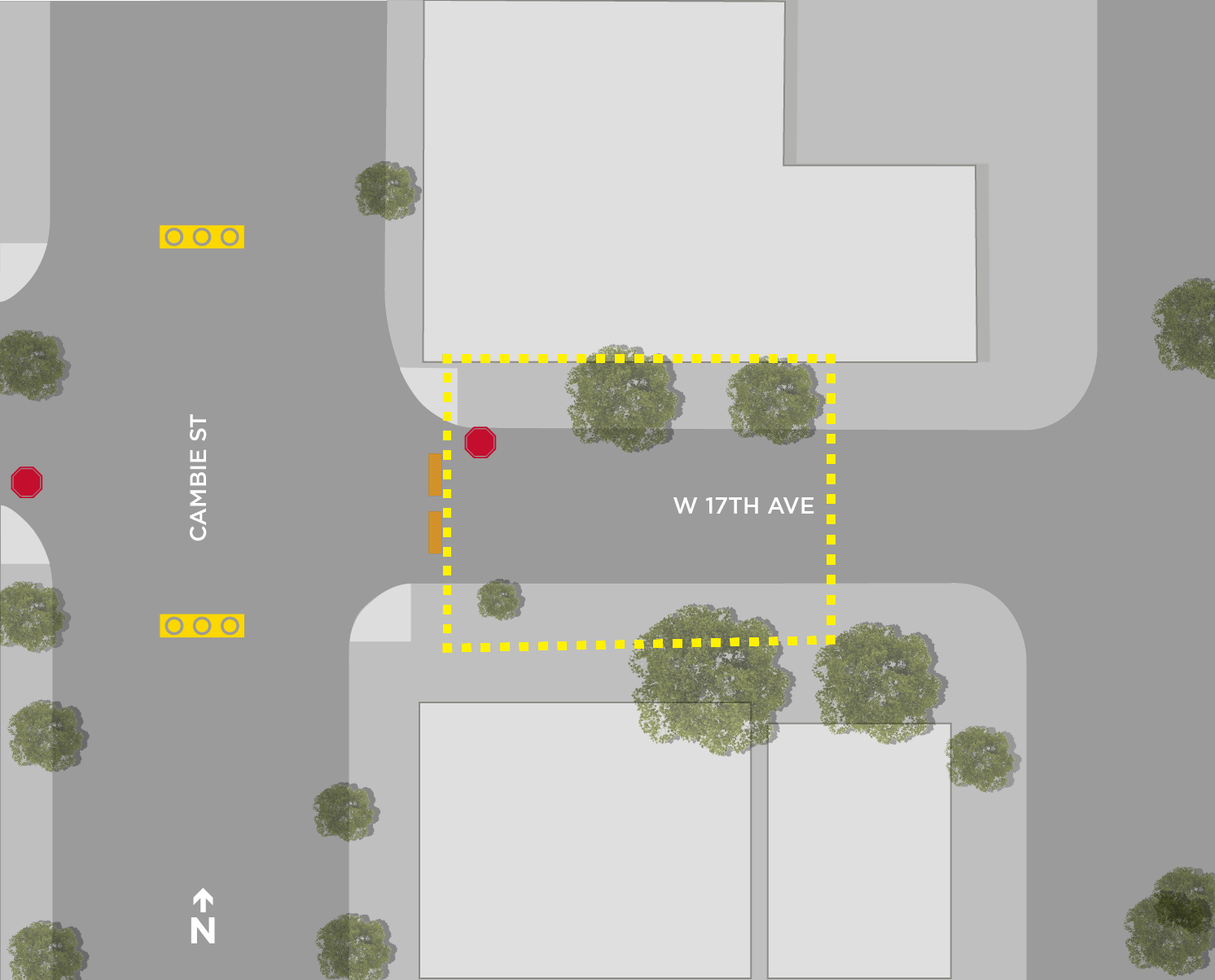 Map of 17th & Cambie Plaza designated drinking area.