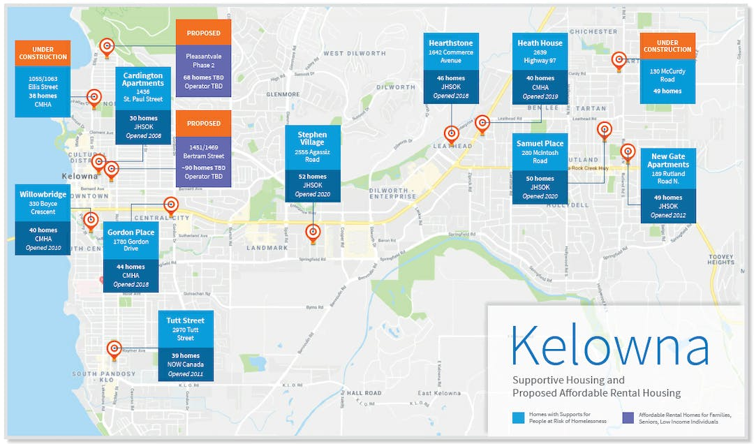 Map showing locations of proposed, and in-development housing for Kelowna