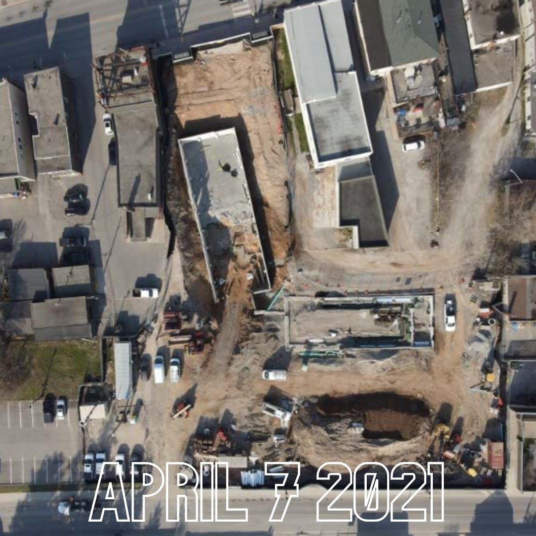 Arial view of construction April 7 2021