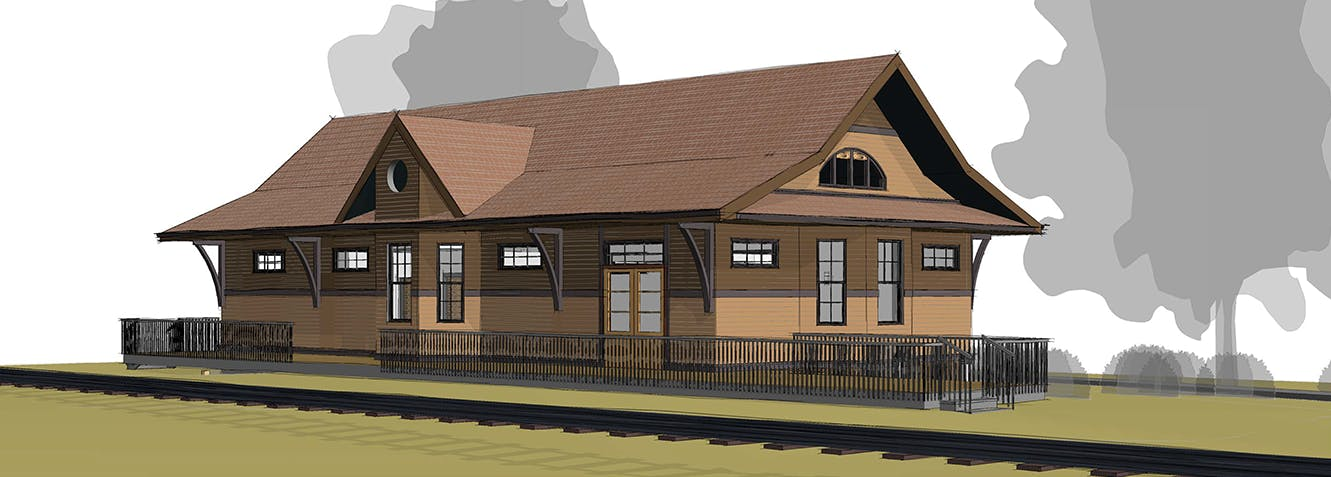 Architect's rendering of the proposed Beaver Valley Siding train station
