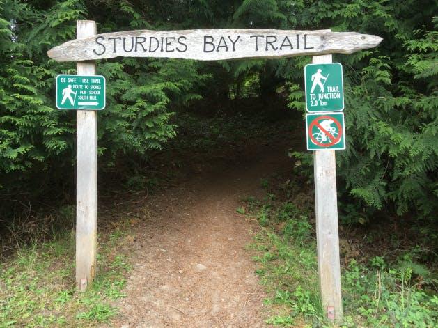 Entrance to Sturdies Bay Trail, Galiano Island