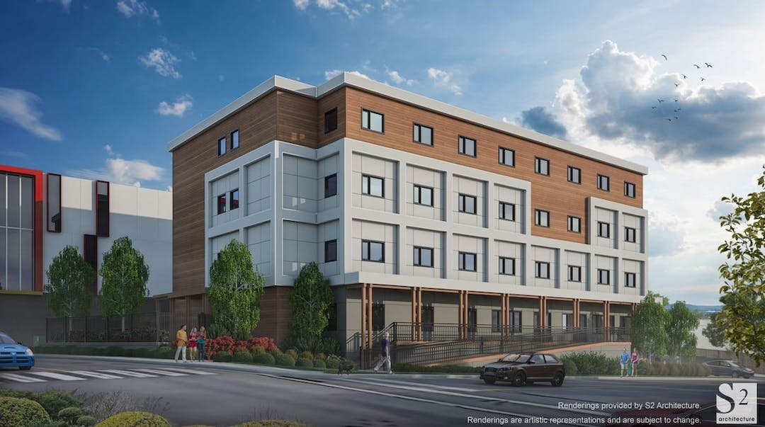 Multi-storey supportive housing project rendering
