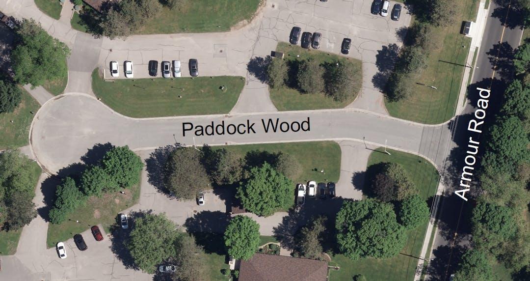 Aerial image of Paddock Wood street taken in 2020