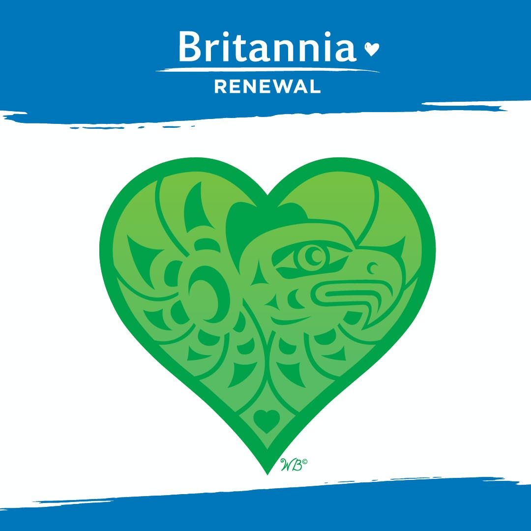 Britannia Renewal Logo against a blue background and artwork of a heart and eagle by Wade Davis