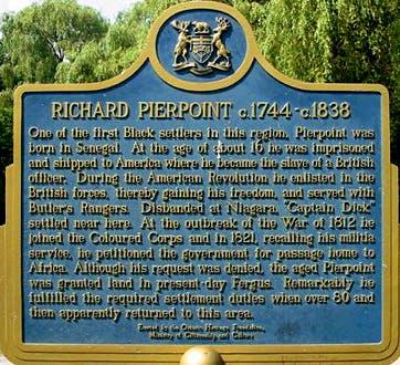 Richard Pierpoint heritage plaque
