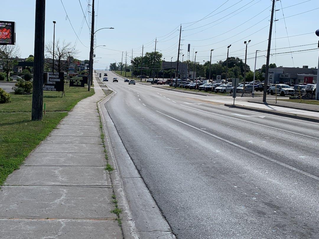 Lansdowne Street Facing East at Kawartha Heights Boulevard