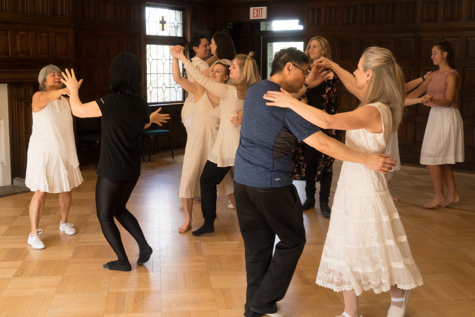Adults in dance class