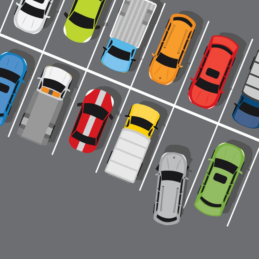 Illustration of cars in parking lot