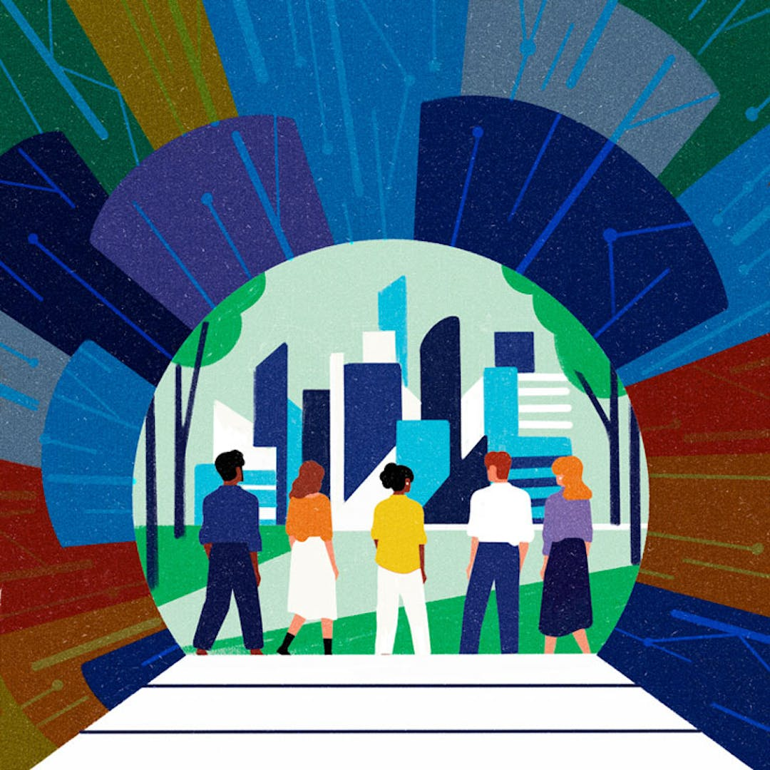 An illustration of five people walking towards office towers and buildings.