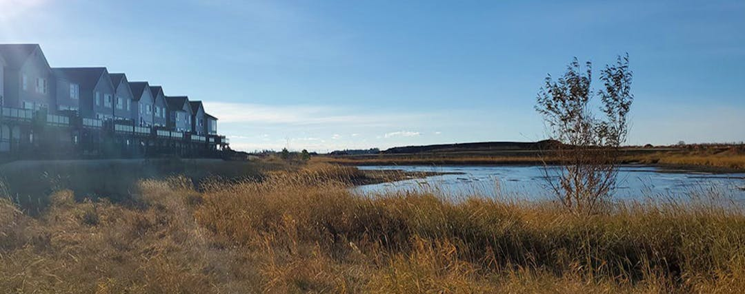 View of the stormwater management facility in Riverside, a community in Saint Albert, Alberta.