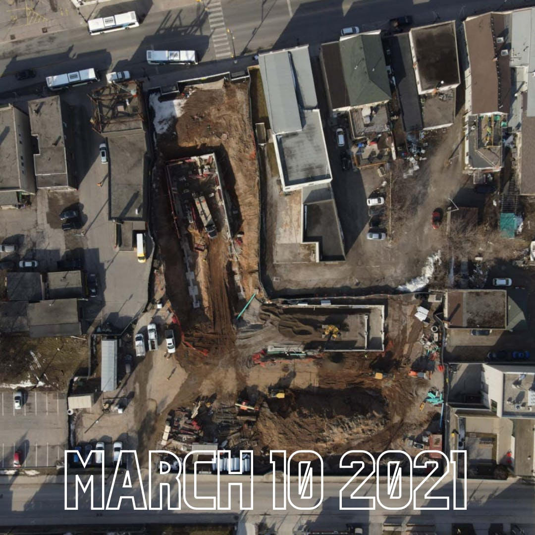 Arial view of the construction - March 10 2021