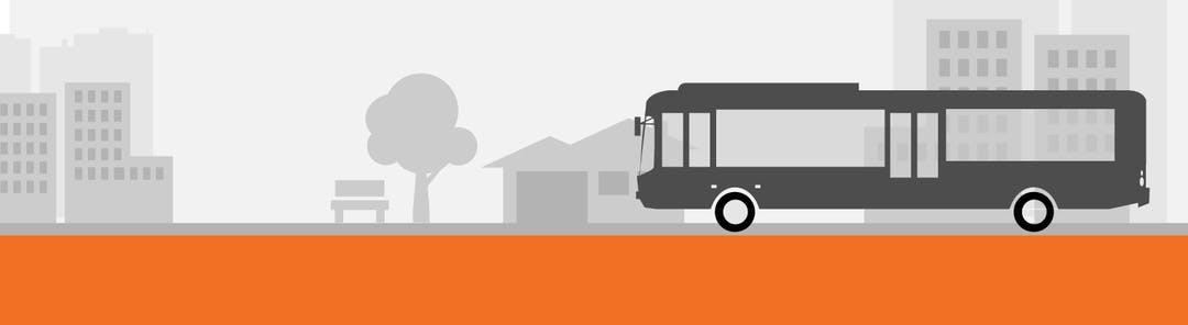 Banner graphic showing bus on road with cityscape in background