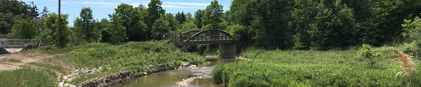 Photo of the historic Bowstring bridge crossing the Humber River within Boyd Conservation Area.