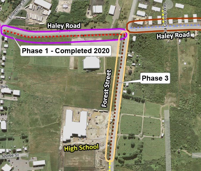 Map showing Phase 3 adding an extension of the trail from Haley Road westward down Forest Street, connecting to existing sidewalk in front of the high school.