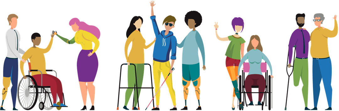 A graphic illustration shows 10 people with different disabilities standing in a row. On the left side there is a white person with a prosthetic leg pushing a person of colour in a wheelchair who is high-fiving a white, feminine presenting person with pink hair prosthetic arm. Towards the middle a white feminine presenting person with a walker stands with a white person with dark glasses and a white cane who is waving at the viewer. A black person with two prosthetic legs stands beside them. On the center right, a white person with purple hair and a prosthetic leg rests a hand on the shoulder of a white person with brown hair in a wheelchair, and is showing a peace sign. On the far right, a person of colour who is missing their left leg from the knee down leans on a crunch and has their arm around a person with grey hair with no visible disability. Everyone looks happy.