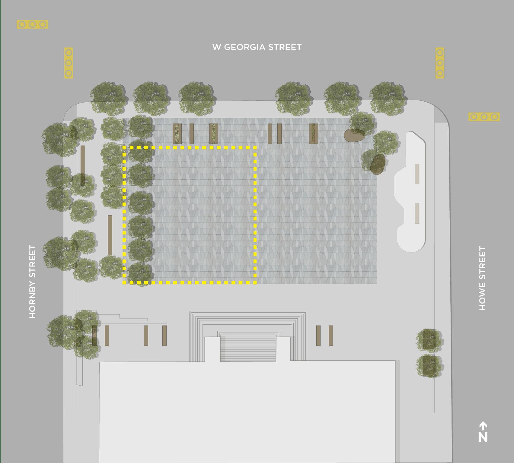 Map of šxʷƛ̓ənəq Xwtl'e7énk Square (Vancouver Art Gallery – North Plaza) designated drinking area.