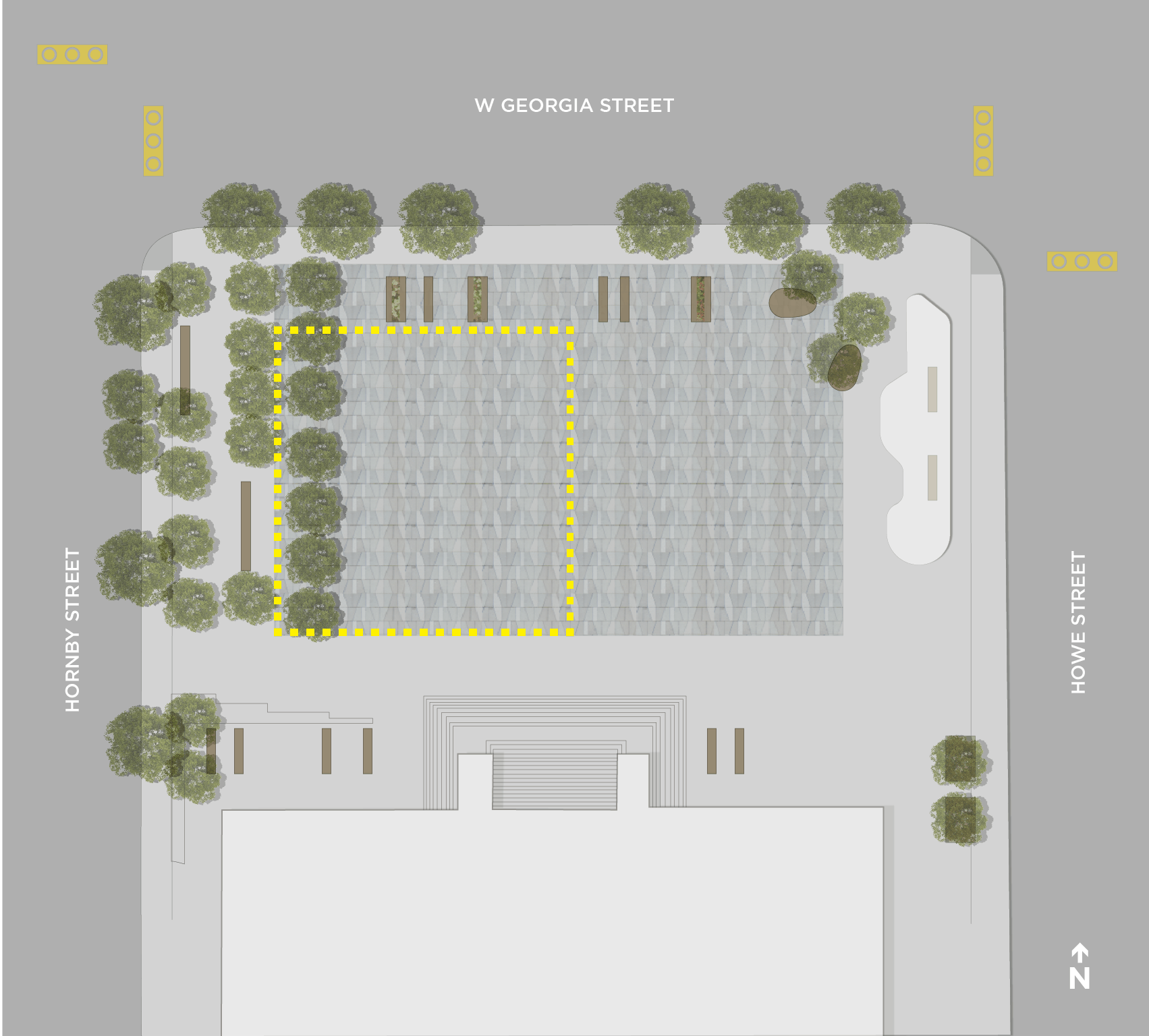 Map of šxʷƛ̓ənəq Xwtl'e7énk Square (Vancouver Art Gallery – North Plaza) designated drinking area.