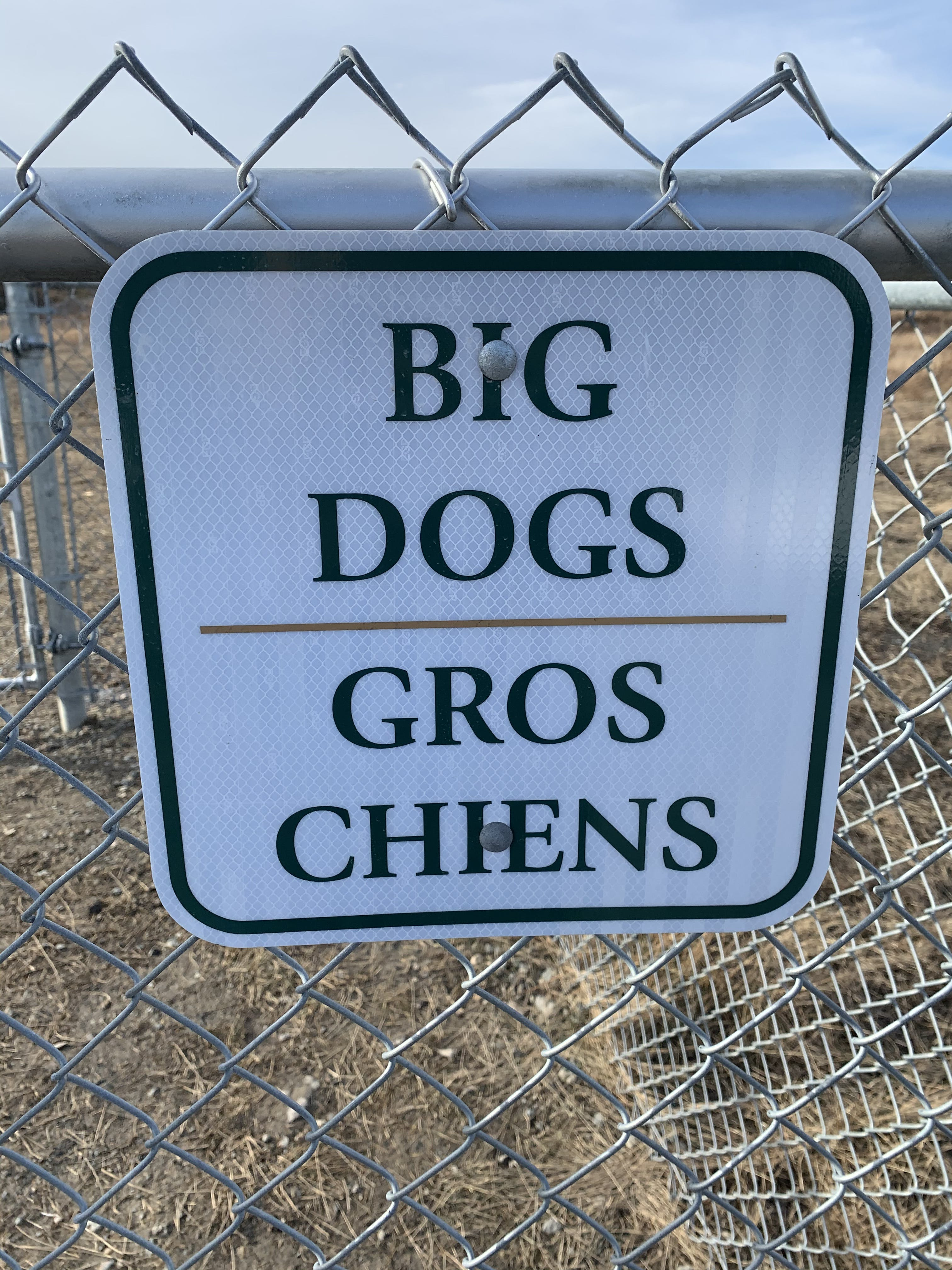 Big dog enclosure sign