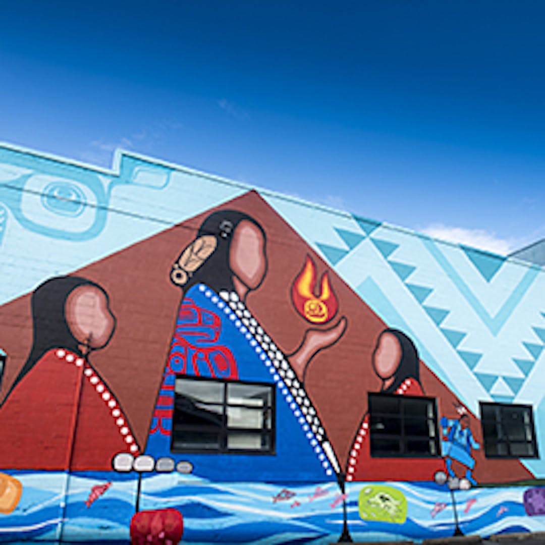 Mural on the side of the Native Education College by Jerry Whitehead, Sharifah Marsden, and Corey Bulpit (Photo Credit: Native Education College)