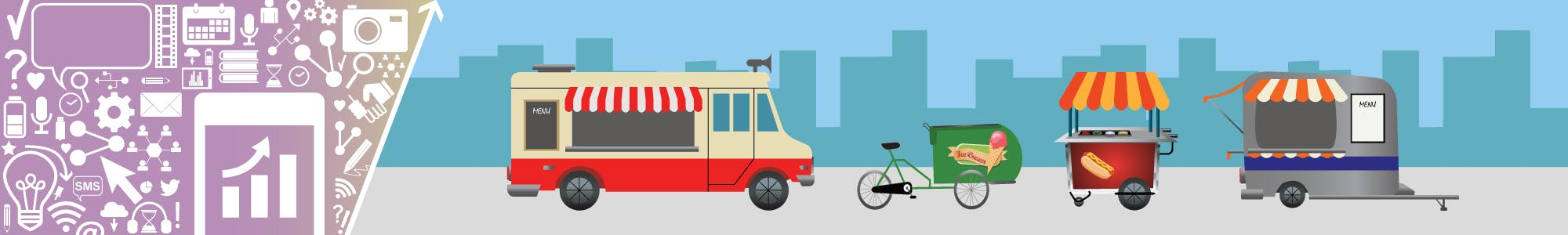Infographic beside food truck, ice cream cart, hot dog cart and mobile refreshment vehicle.