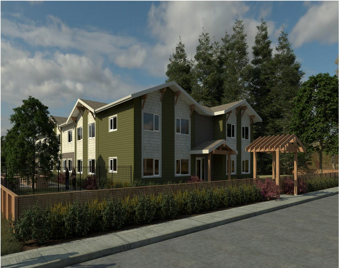 Illustrative rendering of proposed housing and landscaping. It is a two-storey residential building with 22 units ranging from studios to three-bedroom units