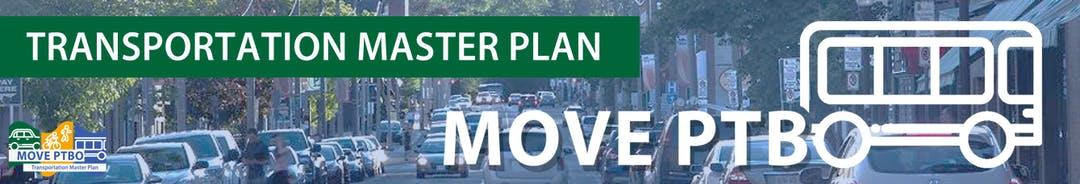 Transportation Master Plan logo MovePTBO and a streetscape.