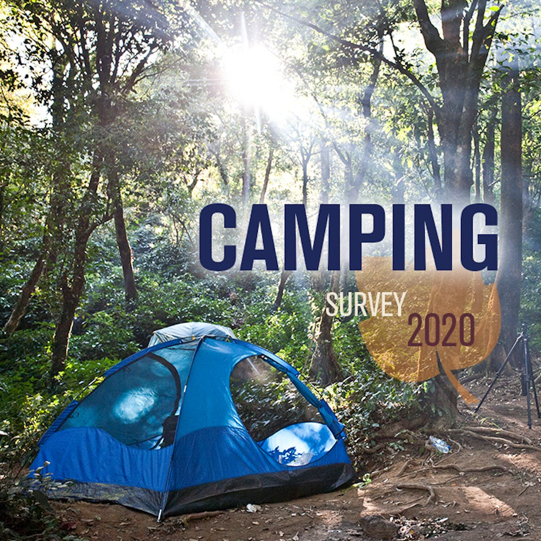Camper Survey Graphic with blue tent and surrounded by greenery