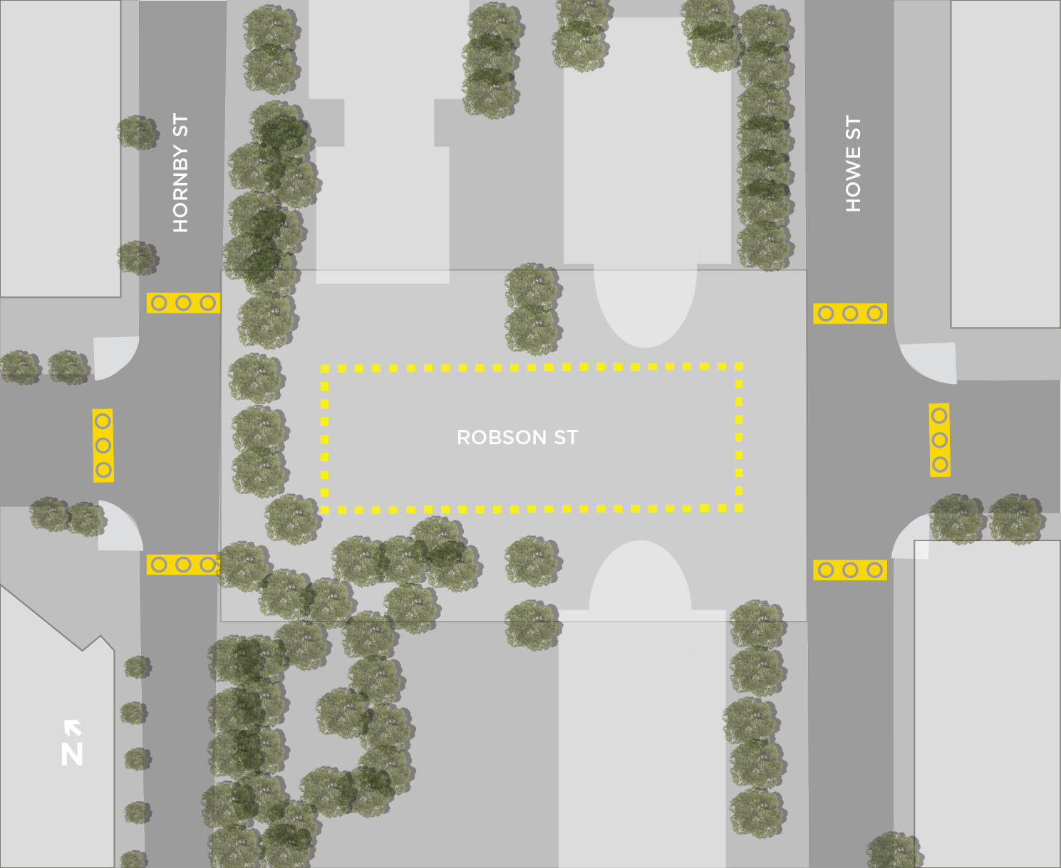 Map of 800 Robson Plaza designated drinking area.