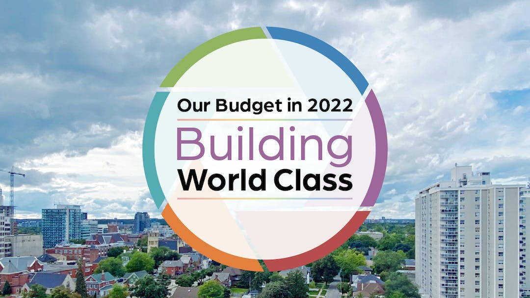 2021 budget image depicting focus areas of affordable housing, anti-racism, economic recovery and innovation.