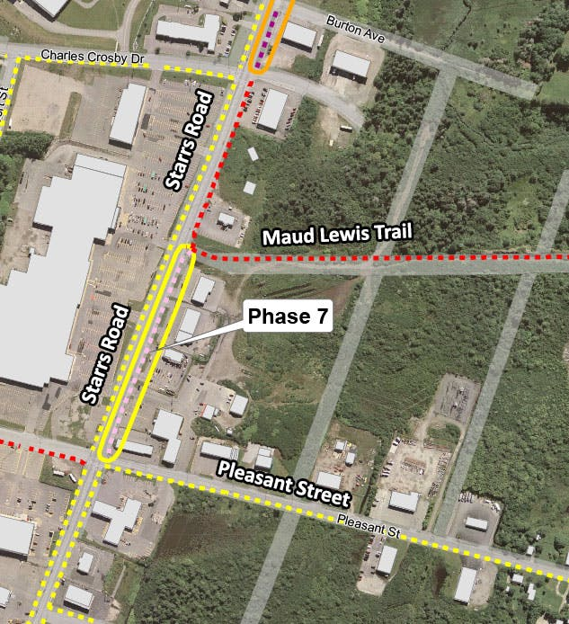 Phases 6 & 7 will see asphalt multi-use trail connecting Haley Road to Pleasant Street on Starrs Road. Work for this phase is planned for 2022-23.