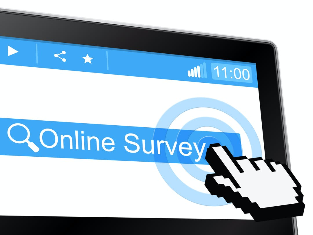 Graphic depicting mouse cursor clicking on online survey