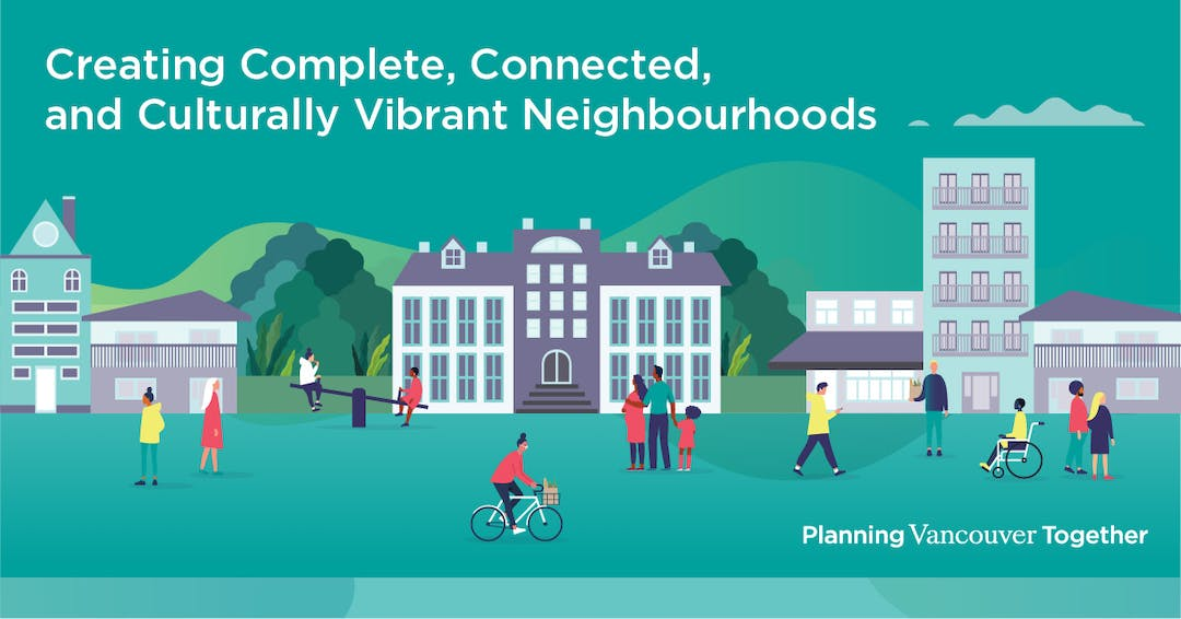 Illustration of people walking, cycling, rolling and playing in front of neighbourhood buildings, including a school, shops and housing.