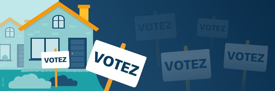 Maison devant laquelle se trouvent des pancartes électorales affichant le mot « Votez »