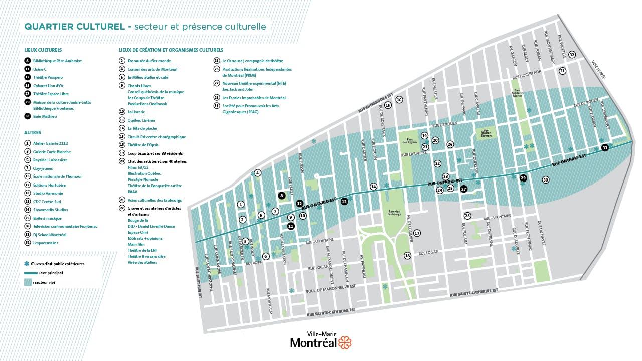 Carte du quartier culturel, secteur et présence culturelle