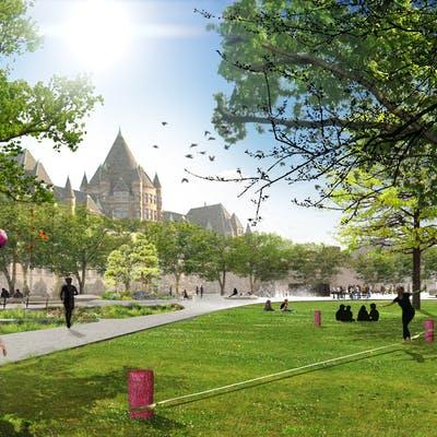 Atmospheric rendering of multi-use green spaces - Théberge block