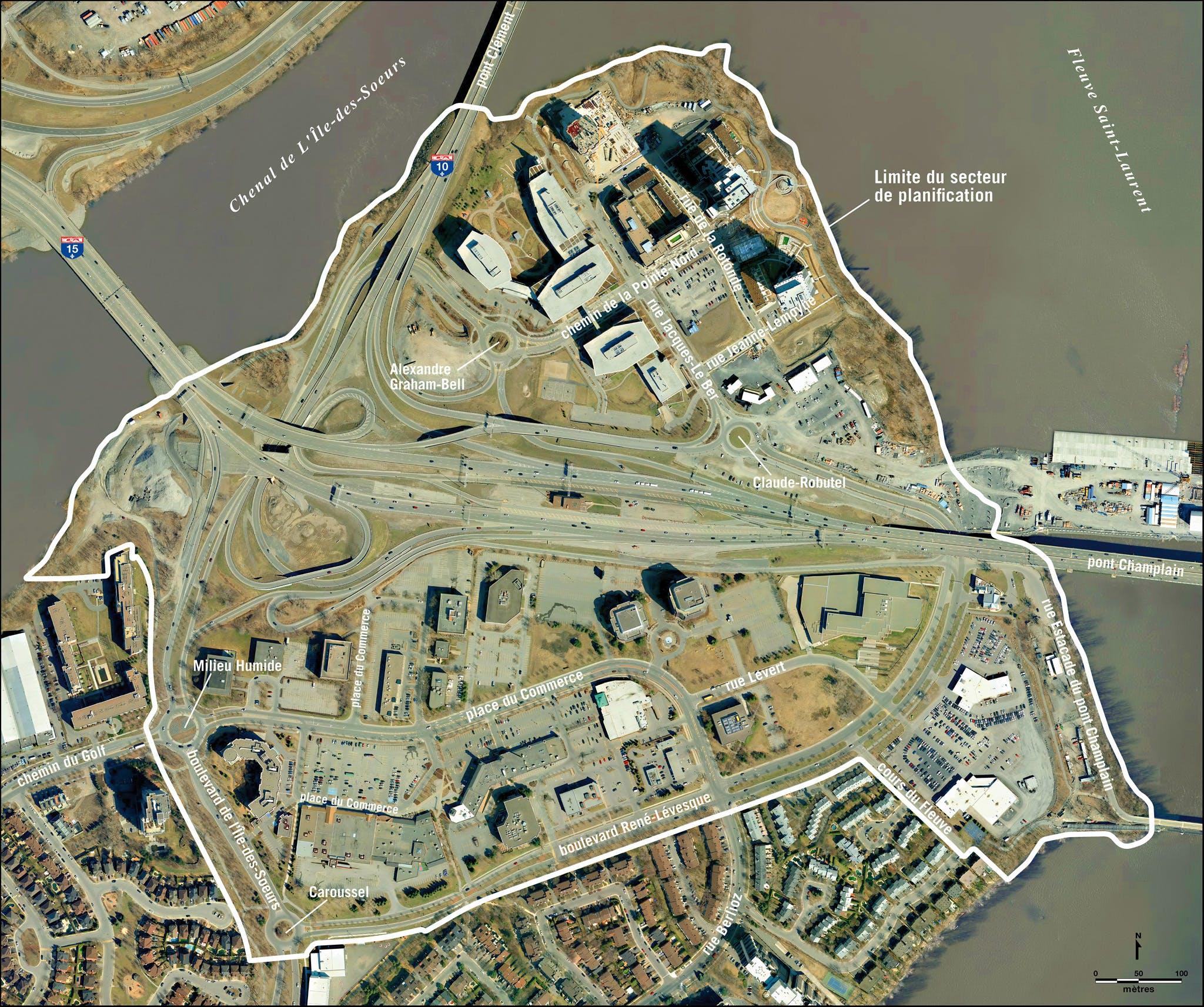 Carte du secteur de L'Île-des-Soeurs - Pointe-Nord
