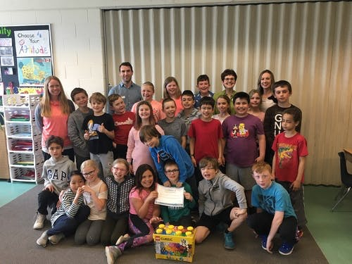 Mrs. Crawford's Grade 4 class at Holly Meadows Elementary School presented with their certificate for providing insightful feedback and their visions for Barre's future.
