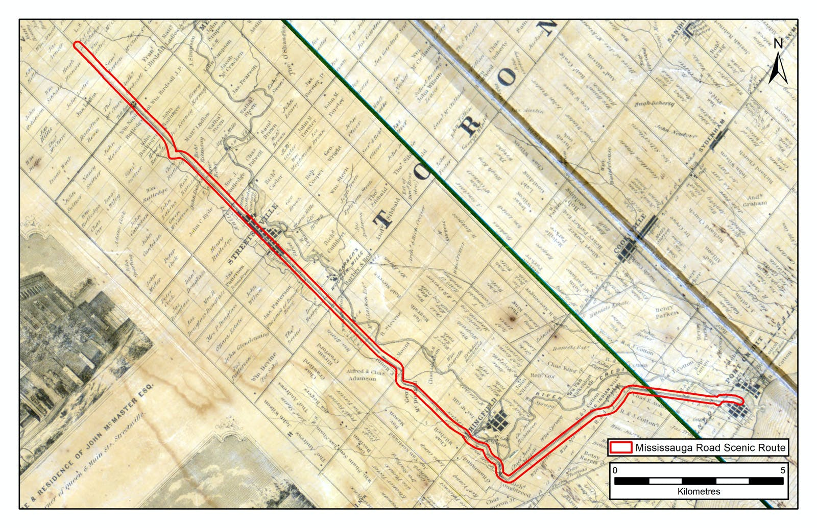 Mississauga Road on historical mapping from 1859