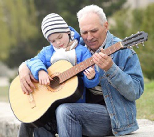 Gradpa Playing Guitar With Grandaughter