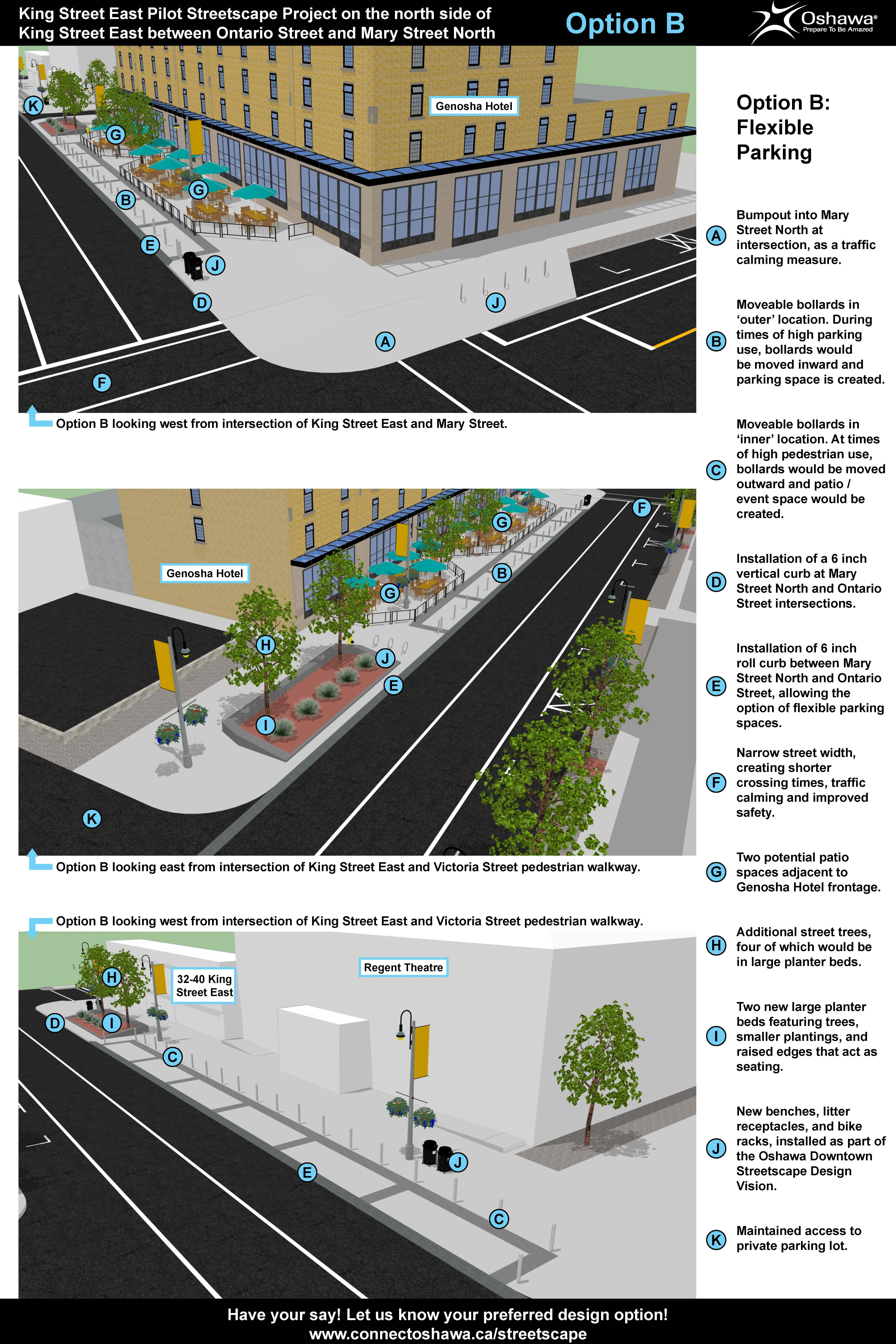 Option B (Flexible 12 Parking): King Street East Pilot streetscape project