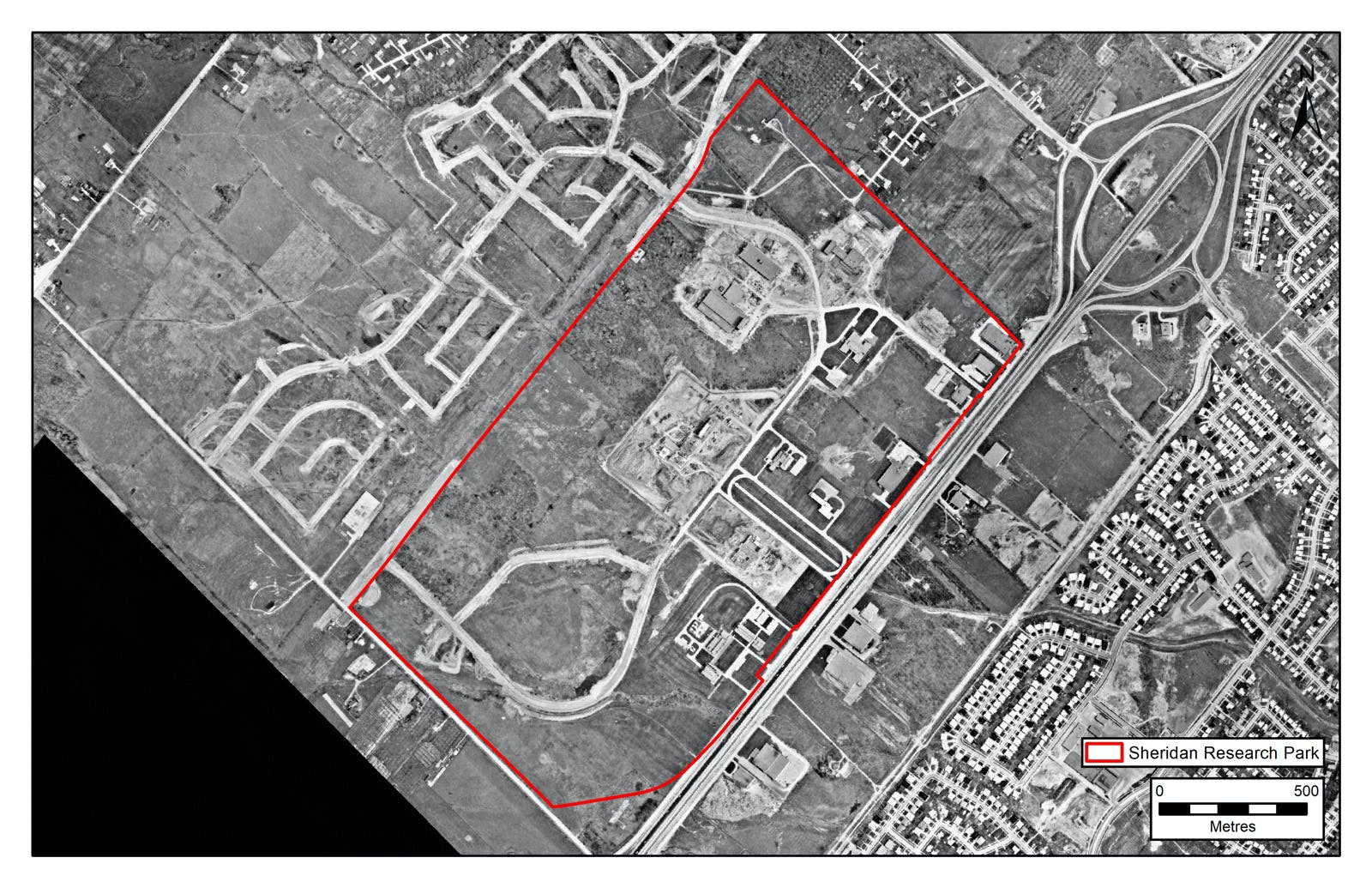 Early development of Sheridan Park, 1966 aerial photograph