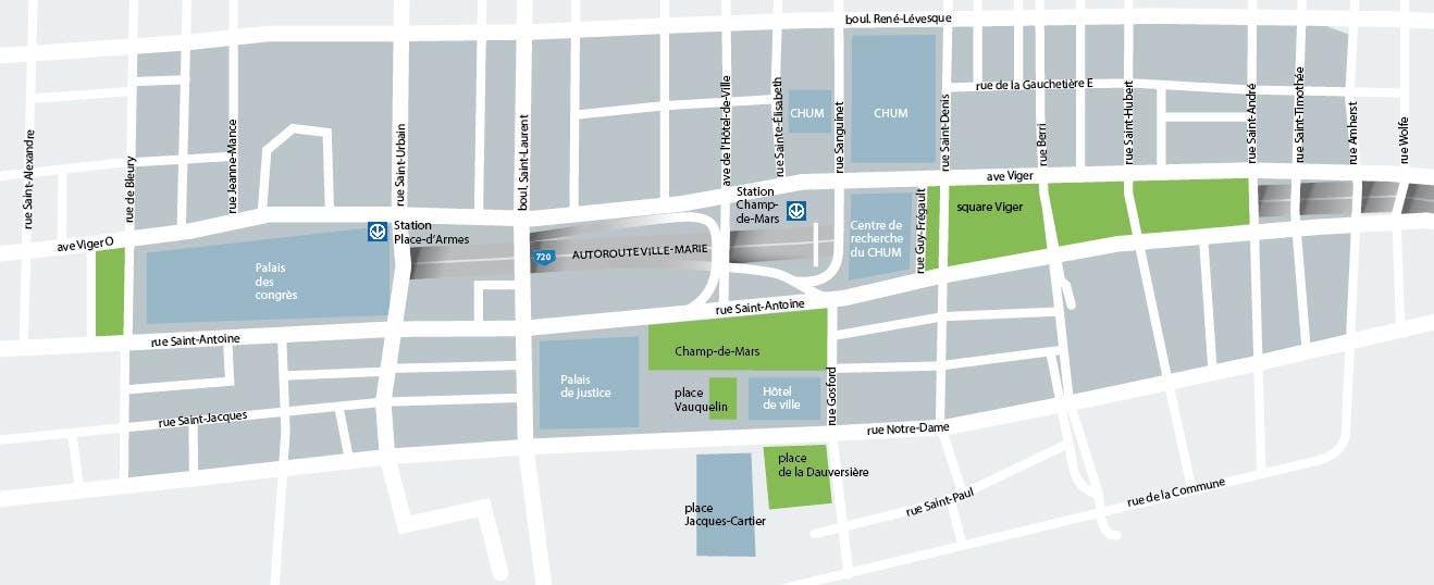 Carte du secteur Champs-de-Mars