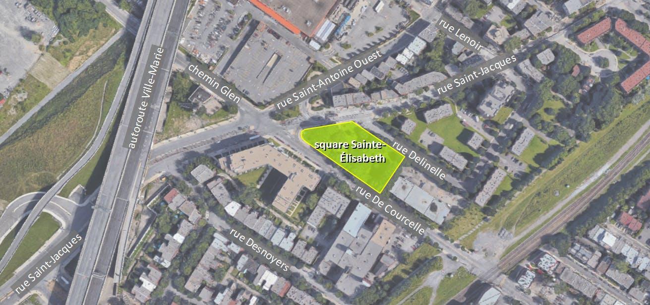plan de localisation du square Sainte-Élisabeth