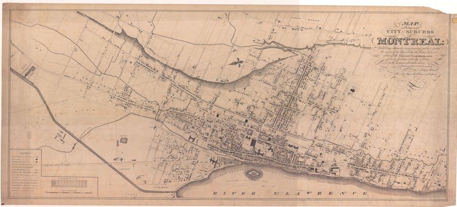 Plan de la Ville et des faubourgs de Montréal en 1825