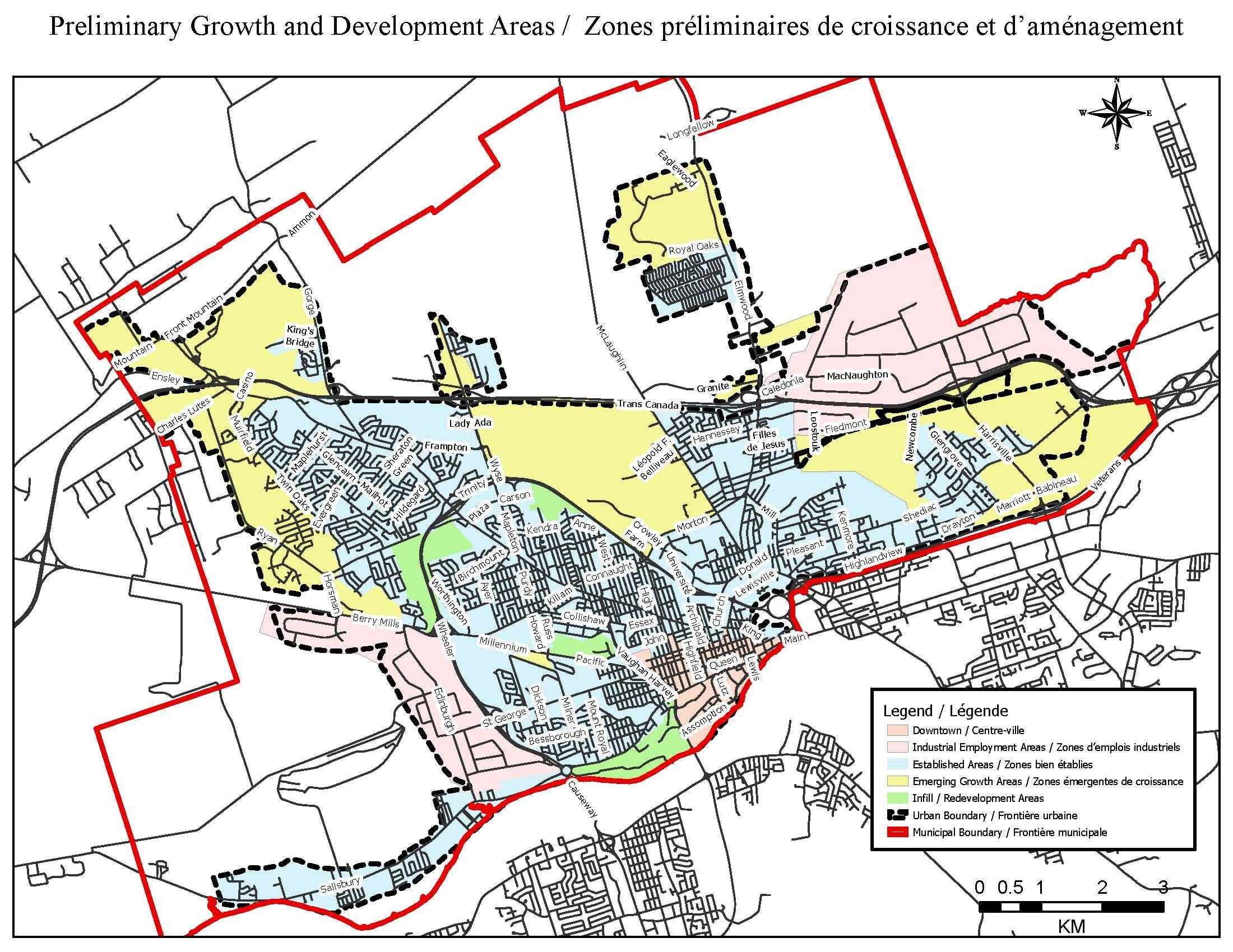 Zones préliminaires de croissance et d'aménagement