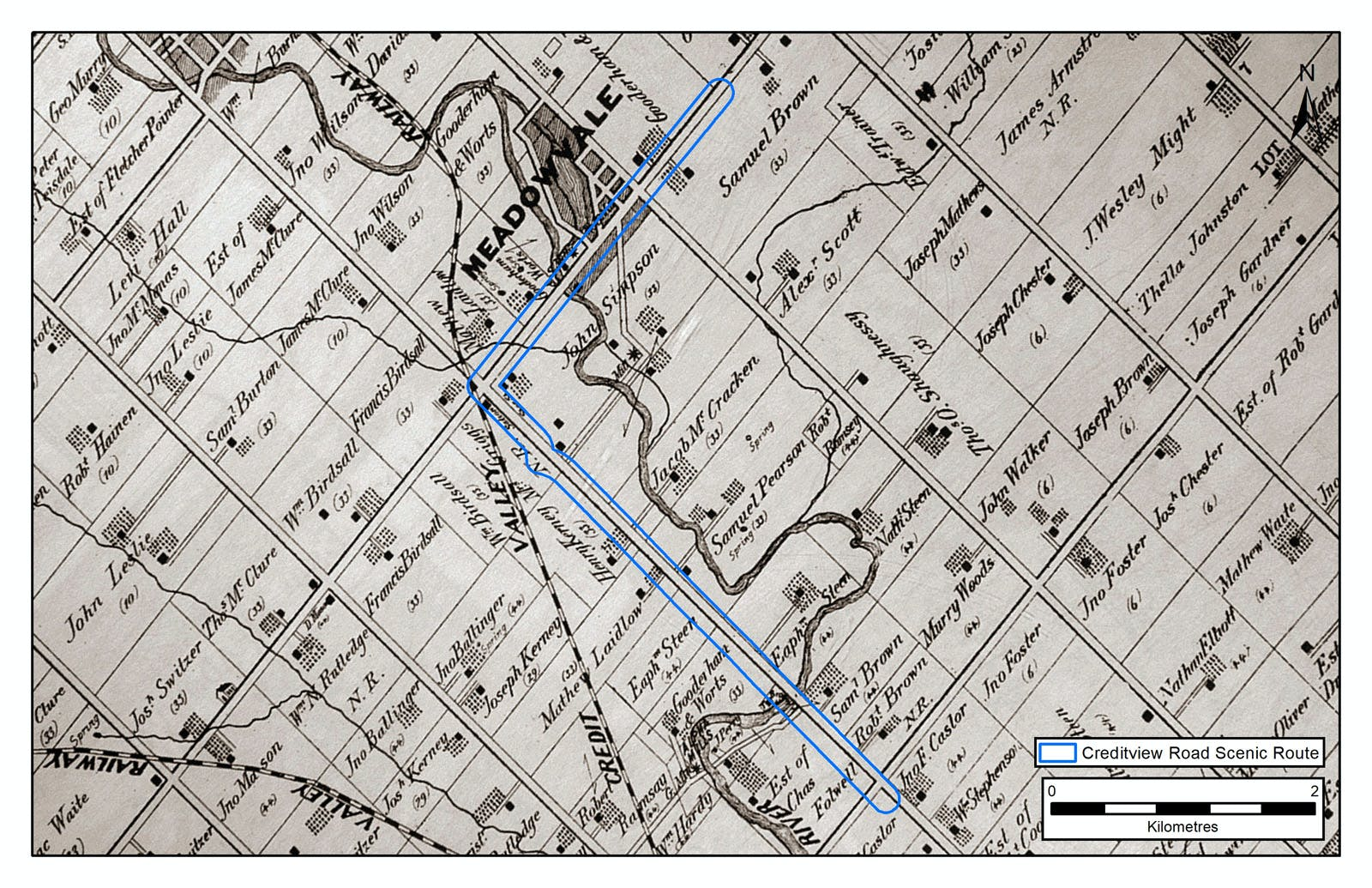 Creditview Road on historical mapping from 1880
