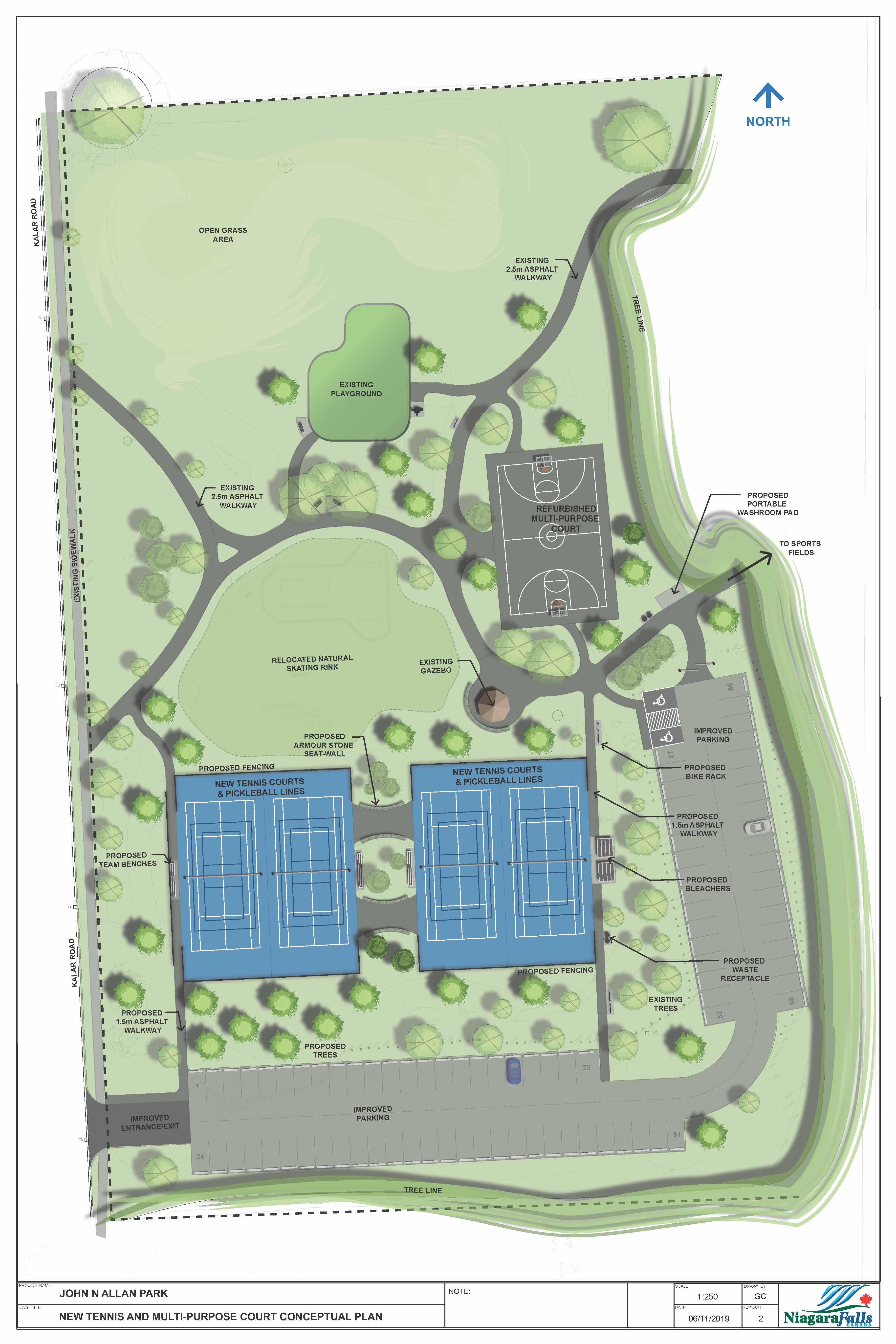 New tennis and multi-purpose court conceptual plan of John N Allan park.