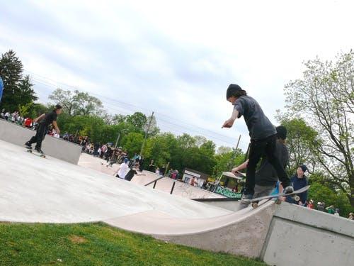 Youth skateboarding at an Oshawa park
