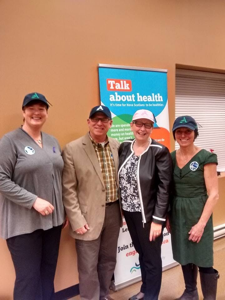 L-R  Robin Latta NSHA, Bill Schurman Recreation Director Town of Amherst, Janet Knox CEO NSHA, Colleen Dowe NSHA