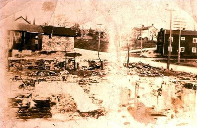 Fire ravaged streets of Erindale after the 1919 fire